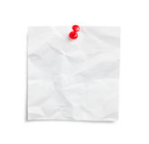 Crumpled note paper with pushpin Royalty Free Stock Photo