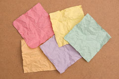 Crumpled note papers Stock Images