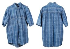 A crumpled old checkered cotton  blue man`s shirt hangs on a han. Ger. View from two sides. Isolated on white studio set Stock Photos