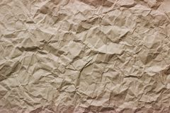 Texture of crumpled brown Kraft paper stock images
