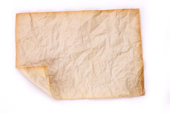 Crumpled old paper on white background Stock Photos