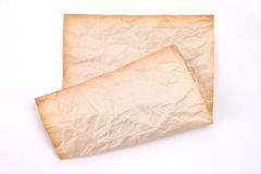 Crumpled old paper on white background Stock Photography
