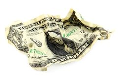 Crumpled one american dollar Royalty Free Stock Images