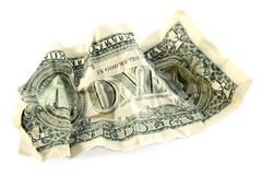 Crumpled one american dollar Stock Photography