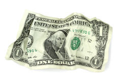 Crumpled one dollar banknote  on white background Stock Photo