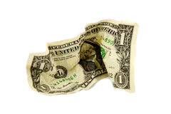 Crumpled One Dollar Bill Stock Photography