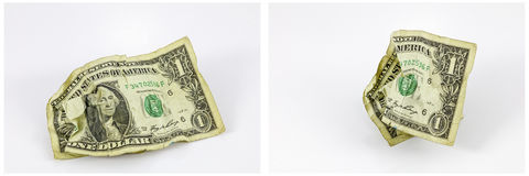 Crumpled one dollar bill money collage Stock Photography