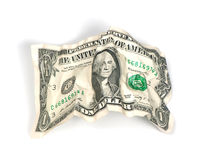 Crumpled one dollar Royalty Free Stock Images