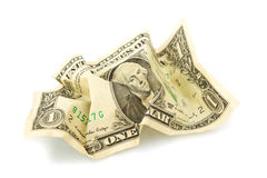 Crumpled One Dollar bill on white background. Royalty Free Stock Photography