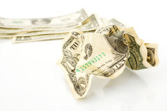 Crumpled One Dollar bill on white background. Royalty Free Stock Photo