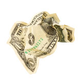 Crumpled One Dollar bill on white isolate background. Royalty Free Stock Images