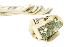 Crumpled One Dollar bill on white isolate background. Royalty Free Stock Photography