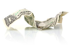 Crumpled one dollar USA Stock Image