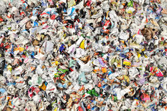 Crumpled paper. Heap of crumpled, coloured paper stock photo