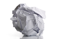 Crumpled paper. Single page of crumpled paper isolated on white background Stock Photography