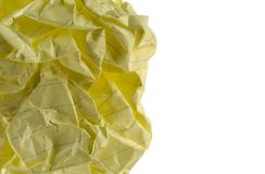 Crumpled Paper. Closeup image of a piece of crumpled writing paper stock image