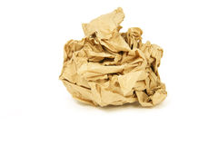 The crumpled paper. Isolated on white failure ball stock photography