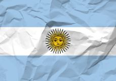 Crumpled paper Argentina flag. Textured background. Vector illustration Stock Photos