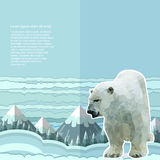 Crumpled paper background with polar bear and snow forest and mountines on horizont Stock Photo