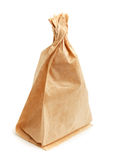 Crumpled paper bag with grease spots Royalty Free Stock Photo