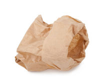 Crumpled paper bag. On white background Stock Images