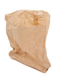 Crumpled paper bag. On white background royalty free stock image