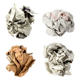 Crumpled paper ball. On white background royalty free stock image