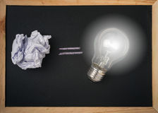 Crumpled paper ball and bulb light Stock Photography