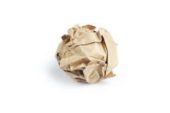 Crumpled paper ball isolated on white. Royalty Free Stock Photo
