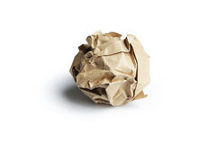 Crumpled paper ball isolated on white. Stock Photography