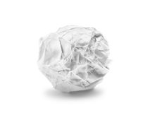 Crumpled paper ball isolated on white Stock Photos