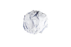 Crumpled paper ball isolated on white. Background Royalty Free Stock Image