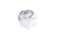 Crumpled paper ball isolated on white. Background Royalty Free Stock Photography