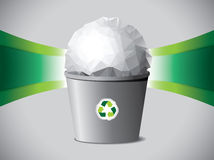Crumpled paper ball in recycle bin Royalty Free Stock Photos