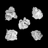 Crumpled paper ball set isolated on black background. Stock Images