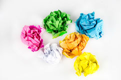 Crumpled Paper ball  on white background.  Royalty Free Stock Images