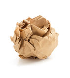 Crumpled paper ball on white. Background stock photos
