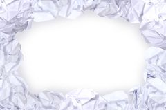 Crumpled paper ball white frame and copy space white background, copy space in rough paper waste ball on white background royalty free stock image