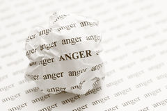 Crumpled paper ball with words anger Royalty Free Stock Photo