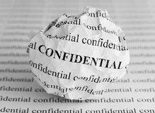 Crumpled paper ball with words Confidential Stock Photo