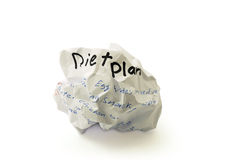 Crumpled paper ball with the words diet plan. On white background Stock Photography