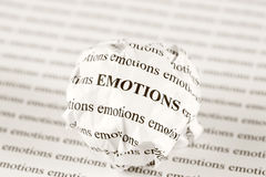 Crumpled paper ball with words emotions Royalty Free Stock Images
