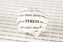 Crumpled paper ball with words stress Royalty Free Stock Images