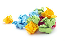 Crumpled paper. Balls of crumpled paper isolated on white background royalty free stock photos