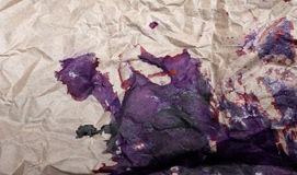 Crumpled paper with blots Stock Photos