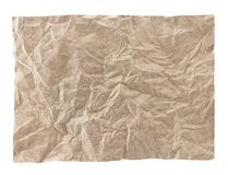 Crumpled paper. Brown crumpled paper on white Stock Photo