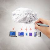 Crumpled paper Cloud Computing diagram Stock Photo