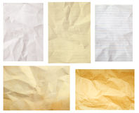 Crumpled paper collection isolated Stock Image