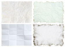 Crumpled paper collection isolated Royalty Free Stock Photos