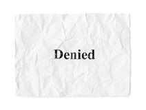 Crumpled paper Denied Royalty Free Stock Photography